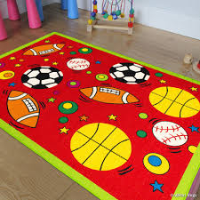Allstar Kids Baby Room Area Rug Sports Football Basketball Soccer And Baseball Bright Red Colors 4 11 X 6 11 Walmart Com Walmart Com