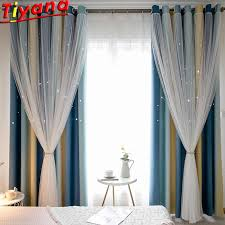 Blackout Curtains For Living Room Hollow Out Star Curtains For Kid S Room Romantic Multi Color Stitching Tulle Curtains M080 Nt Curtains Aliexpress