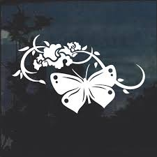 Butterfly With Floral Window Decal Sticker Custom Sticker Shop