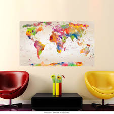 Watercolor Map Of The World Wall Decal At Retro Planet