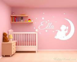 Custom Girl Name Fairy On Moon Stars And Bird Nursery Bedroom Wall Decor Decal
