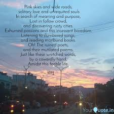pink skies and wide roads quotes writings by shantanu