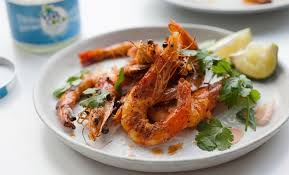 grilled tiger prawns with coconut curry