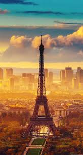 eiffel tower and sunset iphone wallpaper