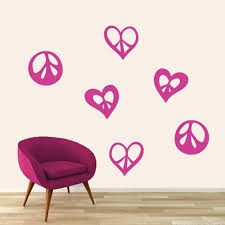 Peace Signs And Hearts Wall Decal Set Shapes Hearts Kids Teens Bedroom For Sale Online