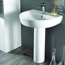 round white ceramic pedestal sink