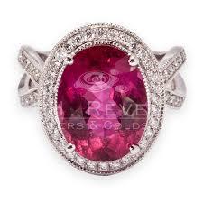 large oval tourmaline diamond ring