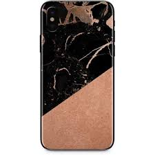 Black And Rose Gold Marble Split Iphone X Skin