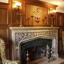paneled room with hand carved stone