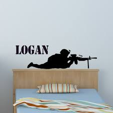 Soldier Wall Decal Boys Name Sticker Military Decal Teen Boys Etsy