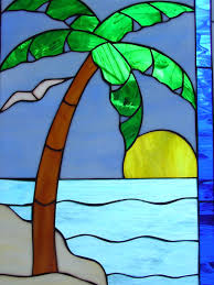 seagulls leaded stained glass window