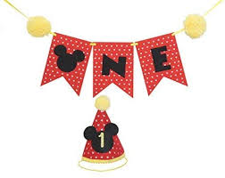 Orange Dolly Disney Themed Mickey Mouse Party Supplies Mickey Mouse Outfit For 1 Year Old Boy Mickey Mouse Clubhouse Party Supplies First Birthday Party Mini Hat And 1st Birthday High Chair Banner Buy Online At