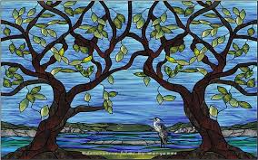 stained glass tree and blue heron