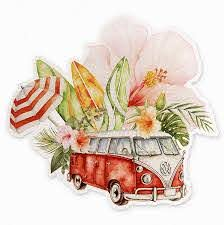 Amazon Com Cute Vw Bus Vinyl Decal 4 Surf Vw Van Watercolor Hippie Sticker Made In Usa Computers Accessories