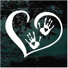 Open Heart Child Paw Prints Decals Car Window Stickers Decal Junky