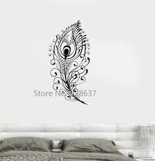Peacock Feather Vinyl Decal Beautiful Wall Sticker Living Room Decor Girls Room Bedroom Decoration Creative Wall Decals Za943 Wall Sticker Wall Decalsvinyl Decal Aliexpress
