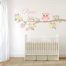 Girls Personalized Nursery Wall Decal Tree Branch Woodland Owl