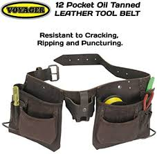 12 pocket oil tanned leather tool belt