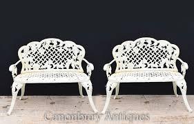pair victorian cast iron garden benches
