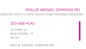 1871883942 NPI Number   MOLLIE ABIGAIL SIMMONS MD   NEW HAVEN, CT   NPI  Registry   Medical Coding Library   www.HIPAASpace.com © 2020