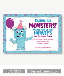 Personalised Sully Monsters Inc Invitation Invitaciones