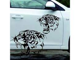 1pc Mighty Tiger Head Personality Decals Car Sticker Reflective Decals Tiger Head Hood Car Stickers Steller Black White 28 28cm Newegg Com