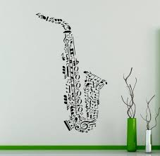 Saxophone Vinyl Wall Decal Music Notes Sticker For Wall Music Etsy