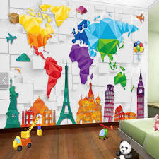 Find More Wallpapers Information About Kids Bedroom Wallpaper Colorful World Map Abstract Wallpaper Wallpaper Walls Decor Wall Wallpaper Kids Bedroom Wallpaper