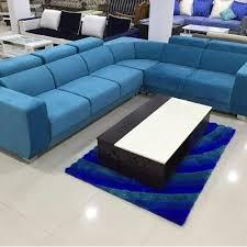 cushion 5 seater blue l shape sofa rs