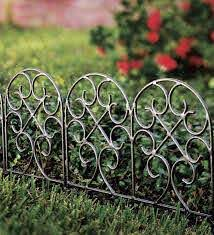 Iron Fence Wrought Iron Edging With Ground Stakes And Gunmetal Finish Plowhearth