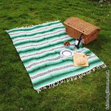 mexican falsa rug blanket blue white