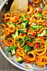 vegetarian sweet potato noodles stir fry