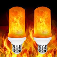 2 Pack Led Flame Effect Fire Light Bulbs E26 Flickering Fire Atmosphere Decorative Lamps Walmart Com Walmart Com