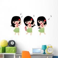 Hawaiian Hula Girl Wall Stickers Wall Decal Wallmonkeys Com