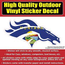 Denver Broncos Montana State Flag Vinyl Car Window Laptop Bumper Stick Colorado Sticker