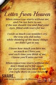 deceased friend poem google search letter from heaven grief