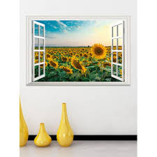 3d Large Sunflower Field Sky Window View Adhesive Removable Wall Decal Sticker Home Garden Decor Decals Stickers Vinyl Art