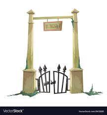 Gate To The Old Cemetery Hacked Royalty Free Vector Image