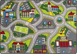 Kids Car Road Rugs City Map Play Mat Classroom Baby Room Non Slip Handcraft Rugs