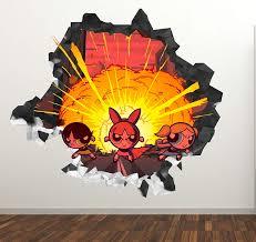 Amazon Com The Powerpuff Girls Fire Wall Decal Sticker Kids Wall Decal Decor Art 3d Vinyl Wall Decal Gs23 Large Wide 40 X 36 Height Home Kitchen
