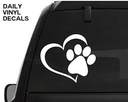 Paw Print Heart Decal Paw Prints Love Vinyl Sticker Love Your Pet Dog Cat Paws Etc Choose Size Color Paw Print Heart Sticker Love Your Pet Prints Cat Paws