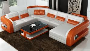 design white and orange leather sofa