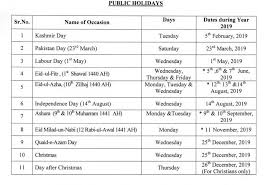 public holidays for year 2019