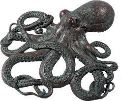 octopus wall decor figure bronze finish