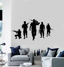 Vinyl Wall Decal Military Wartime War Silhouette American Soldiers Sti Wallstickers4you