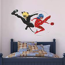 Amazon Com Miraculous Wall Sticker Ladybug Cat Noir Mir02 Wall Decal Mural Kids Bedroom 60cm Width X 35cm Height Baby