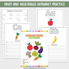 fruit and veggie alphabet worksheets a