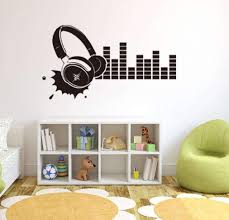 Amazon Com Bibitime Recording Room Voice Frequency Silhouette Sticker Vinyl Headphone Wall Decal Decor For Ktv Background Living Room Sofa Decoration Nursery Bedroom Art Mural Home Kitchen