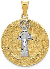 14k yellow gold circle saint benedict