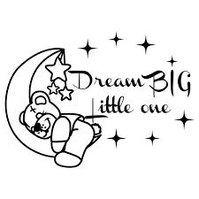 Amazon Com Wall Decals Quote Dream Big Little One Moon And Stars Vinyl Sticker Lettering Bear Decor Nursery Art Girls Bedroom Sweet Dreams Decor Nl175 Handmade